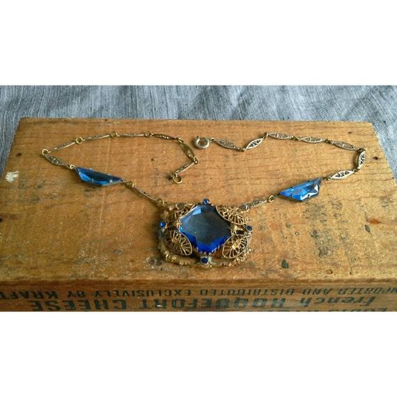 Antique Blue Bohemian Glass Art Noveau Edwardian Filigree Pendant Necklace 1910s Czech