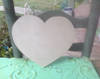 Unfinished Wooden Heart, Unpainted Wood Heart, Wood Crafting Supplies-Heart