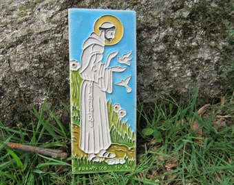 Vintage St. Francis Picture Ceramic Made in Italy St. Francis plaque