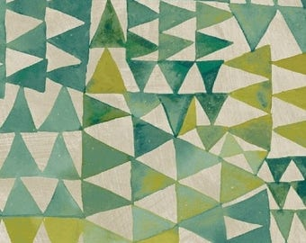 Dreamer by Carrie Bloomston for Windham Fabrics - Painted Pottery - Turquoise & Moss Green - 1/2 Yard Cotton Quilt Fabric 417