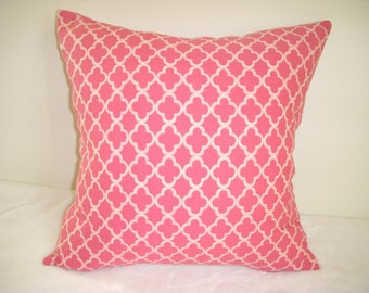 Pink Pillow Cover Rose Rosy Floral Flower Shabby Chic Farmhouse Country Cottage Waverly Cloverleaf