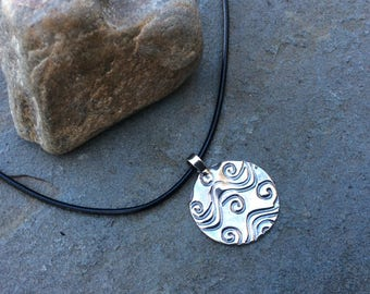 Ocean wave necklace,  Surfer girl necklace, Wave necklace in fine silver pmc and leather