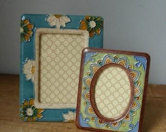 2 Vintage Picture Frames/Pottery Picture Frames/Decorative Picture Frames/Teal Picture frame