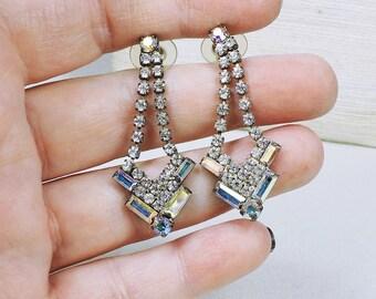 Vintage Rhinestone Pierced Earrings, Bridal Earrings, Wedding Earrings
