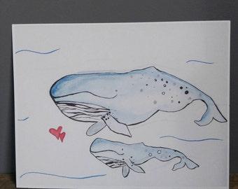 Print of original artwork watercolor ocean whale vibrant children nursery home decor nautical whimsical creature sweet purple pink blue love