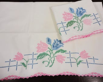 Pair of Standard Size All Cotton Pillowcases  Embroidered Cross Stitch