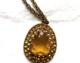 Beautiful Vintage Czech Topaz Colored Pendant With Brass Chain