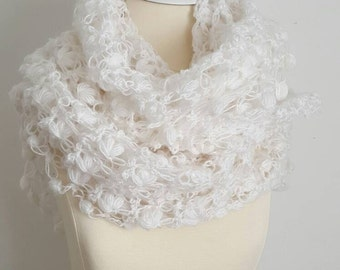 Crochet shawl, wedding bridal shawl, knitting, fashion,shrug, stole, capelet, cream, women, scarflette,wedding shawl