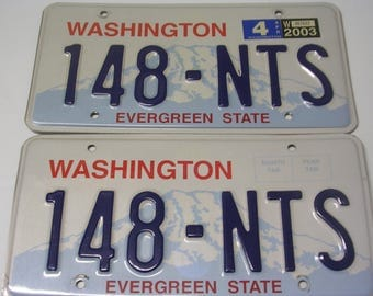 Matched pair of Washington License Plates Evergreen  State 148-NTS
