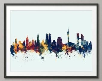 Munich Skyline, München Germany Cityscape Art Print (2664)