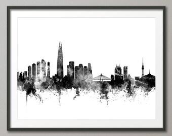 Seoul Skyline, Seoul South Korea Cityscape, Art Print (2714)
