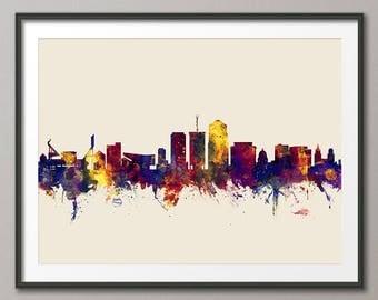Tucson Skyline, Tucson Arizona Cityscape Art Print (2843)