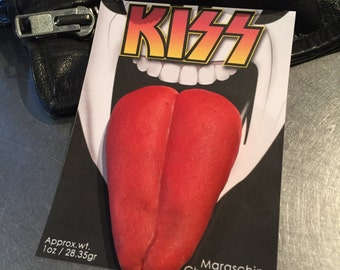 "Delivered Cookies for Valentine's Day, Gag Gift, 80's Party- 12 Maraschino Cherry ""KISS"" Gene Simmons inspired cookies individually packaged"