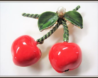 Cherry Brooch - Original by Robert - Enamel Red Green - Green Enamel Leaves - Fruit Brooch