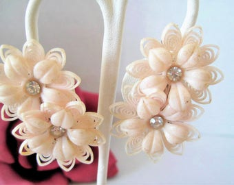 Pink Plastic Earrings - Double Flowers -  Rhinestone Centers - Clip Ons