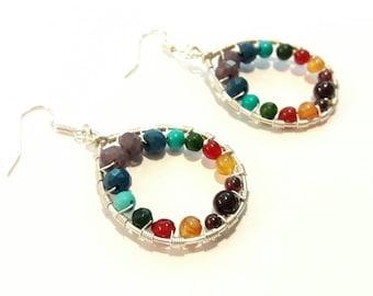 Chakra Earrings with Rainbow Gemstones and Crystals on Silver Dangles, Yoga Hoop Earrings