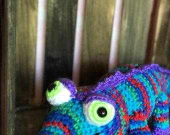 Colorful crocheted chameleon