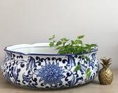 "Large Vintage Blue White Low Shallow Planter Bowl 15"" Succulent Flower Planter Centerpiece Chinoiserie Chic"