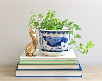 Vintage Blue White Planter Chinese Asian Ceramic Indoor Planter Chinoiserie Chic Decor