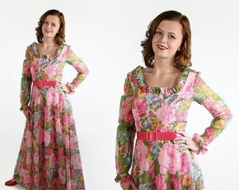 40%OFFSALE 70s California Calliope Dress Maxi Prom Vintage Wedding Pink Floral Print