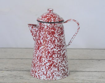 Vintage Coffee Pot Red and White Swirl Mottled Graniteware Coffee Pot