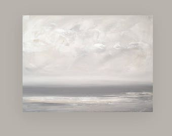 Seascape, Ora Birenbaum Art,Abstract, Acrylic, Art, Gray and Silver, Painting on Canvas, Original Art, Titled: Fog 2 30x40x1.5""