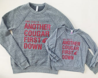 WSU COUGARS First Down - Women's/Unisex Crew Neck