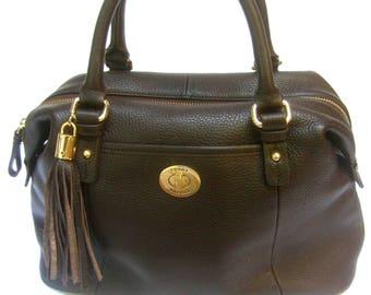Tommy Hilfiger Chocolate Brown Pebble Leather Handbag