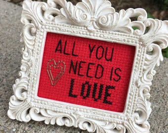 Mini White Baroque Framed Cross Stitch - All You Need Is Love