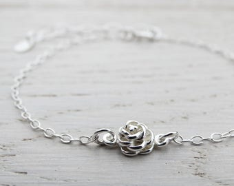 Tiny Silver Rose Bracelet - Sterling Silver