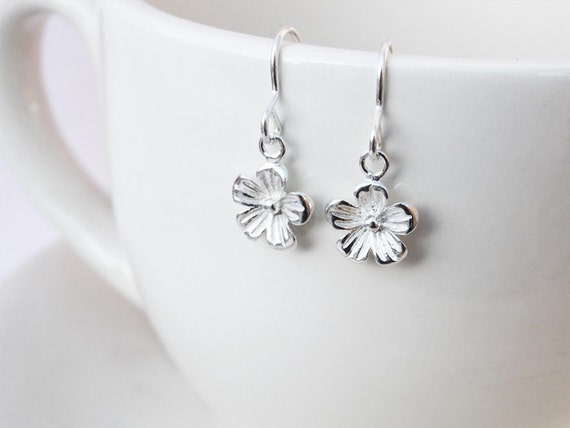 Silver Flower Earrings - Sterling Silver