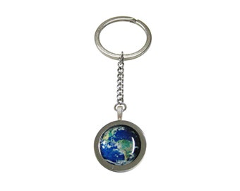 Bordered Planet Earth Pendant Keychain