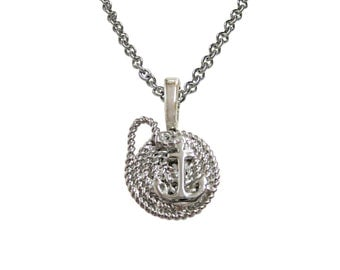 Nautical Rope and Anchor Pendant Necklace