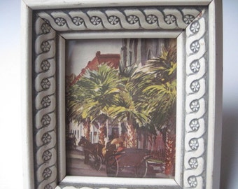 Vintage Mid Century Framed Palm Trees and Buggy Print A Lambert Product Made in USA