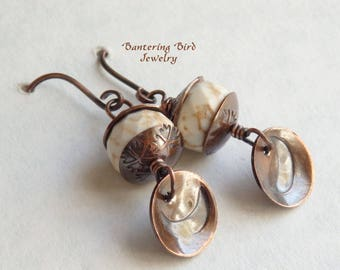 Crescent Moon Earrings, Off White Stone Dangle, Magnesite with Hand Stamped Copper Disc and Bead Caps, Artisan Copper Jewelry