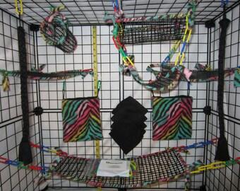 15 pc FULL MESH Sugar Glider Cage Set - Rat - Multi Zebra