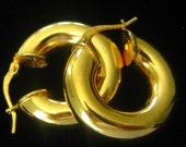 "SALE 18K Gold Plated Italian Hoop Earrings Measure 7/8"" Across.  Tubular Hoops 1/4"" W.  Rich Brilliant Finish.  Marked 18KGP/B2. DV Italy"