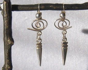 SALE Modernist Mexican Sterling Silver Earrings have Ball & Swirl Tops with linked  Tapered Drops.  70's Vintage.