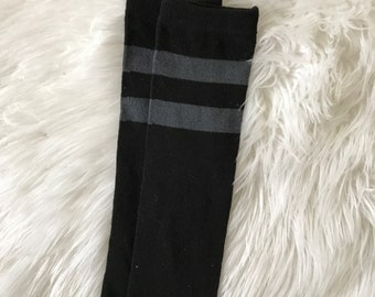 Black and Gray Football Stripe Baby Legs / Leg Warmers