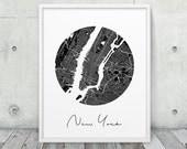 New York Urban Map Print. New York City Street Map Poster. Black & White New York Print. Modern Wall Art Home Office Decor. Printable Art