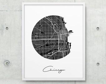 Chicago Urban Street Map Print. Chicago City Map Poster. Black & White Chicago Illinois Print. Minimalist Home Office Decor. Printable Art