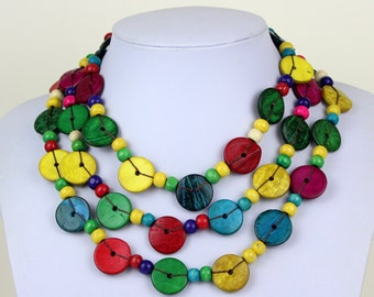Ethnic Coconut Shell Necklace. Handmade. Extra Long Length Lariat. Colorful Coco Wood Beads. Multi Color Colour Necklace.  MapenziGems CN05
