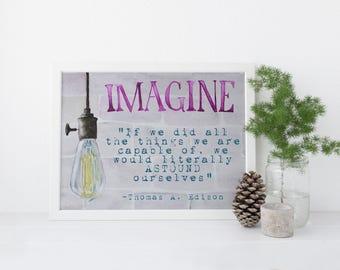 Watercolor Print: Imagine, Wall Art, Inspire, Watercolor, Edison Bulb Imagine Print. Watercolor