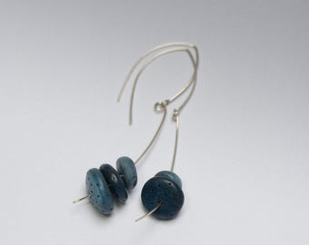 subtle dangle earrings, sterling silver earrings with blue and gray polymer clay stones,  art jewelry by Jagna Birecka