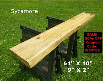 Live Edge Sycamore Finished Wood Slab Foyer Table Natural Shelving Console