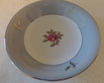 Vintage ONE 5.5 Inch Berry Bowl Gray & Pink Bella Maria Seyei Fine China Japan 1950s Romantic Dining Inches Never Used Cottage Chic