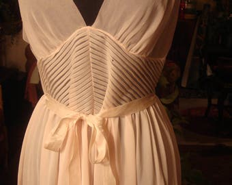 Vintage 1960's Pastel Pink Lingerie Slip Dress with Sash Waistline