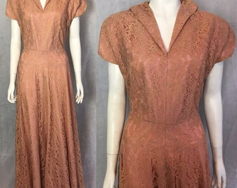 SALE! 1940s lace evening gown in antique pink