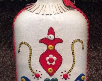 Used Leather Wrapped Vintage Bottle Decanter Scandinavian Folk Swedish Flask