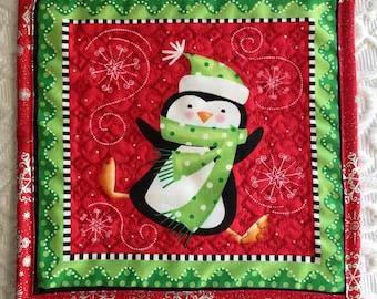 Christmas Penguin Mug Rug Coaster Placemat